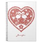 Textured Heart Flamingo Love - Custom Name Notebook