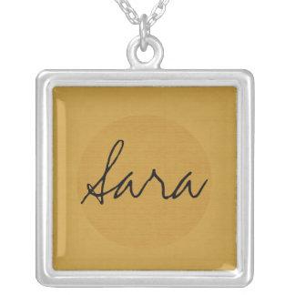 Textured Monogram Square Pendant Necklace