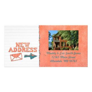 Textured Orange New Address Custom Photo Cards