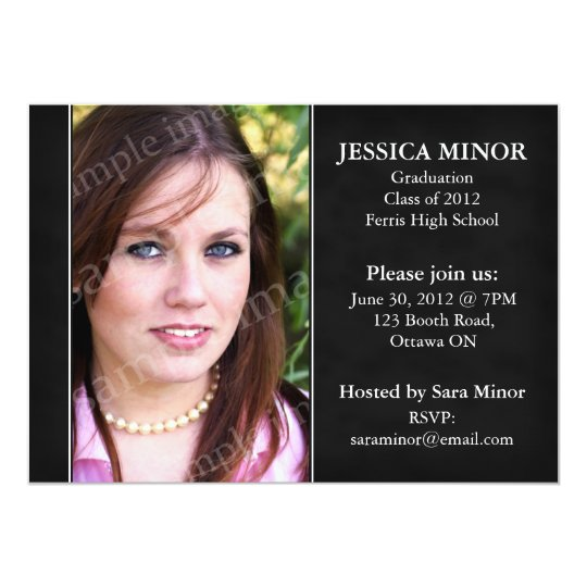 Textured Photo Graduation Invitation - Black
