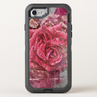 Textured Pink Rose OtterBox Defender iPhone 8/7 Case