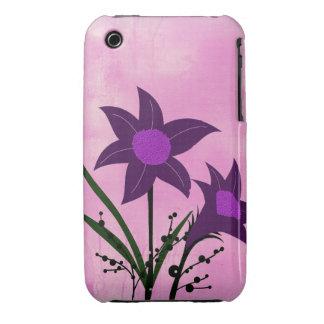 Textured Purple flower on pink wash background Case-Mate iPhone 3 Case