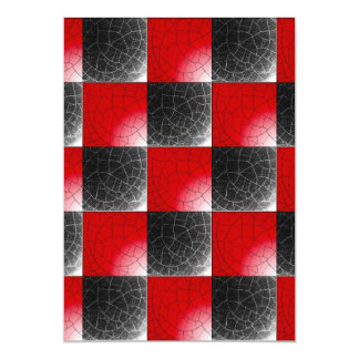 Textured red and black checkerboard 13 cm x 18 cm invitation card