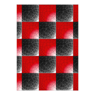 Textured red and black checkerboard invitation