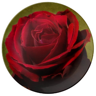 Textured Red Rose Porcelain Plate
