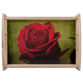 Textured Red Rose Serving Tray