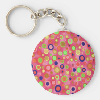 Textured Retro Circles Key Chains