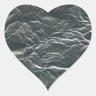 TEXTURED SILVER FOIL45 FOIL CRINKELED SHINY BACKGR HEART STICKER