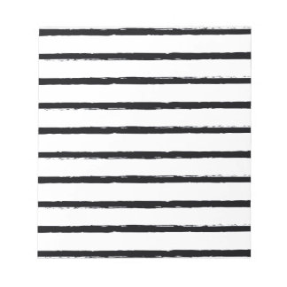 Textured Stripes Black White Rough Lines Pattern Notepads