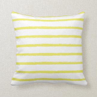 Textured Stripes Lines Bright Sun Yellow Modern Cushion