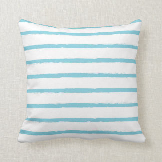 Textured Stripes Lines Sky Blue Nautical Modern Throw Pillow