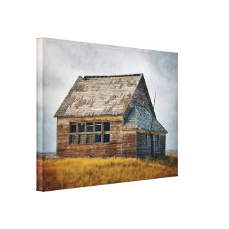 Textured Vintage Schoolhouse Stretch Canvas Print