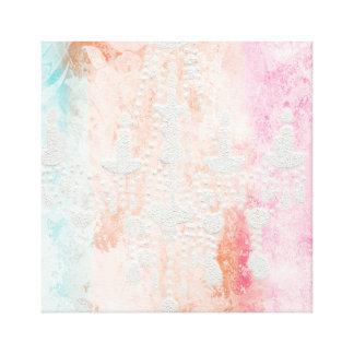 Textured White Chandelier on Pastel Multi Grunge, Canvas Print