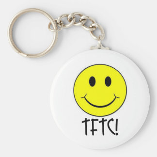 TFTC with Smiley Basic Round Button Key Ring