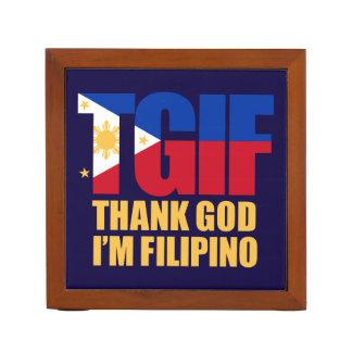 TGIF Filipino with Philippine Flag Desk Organiser