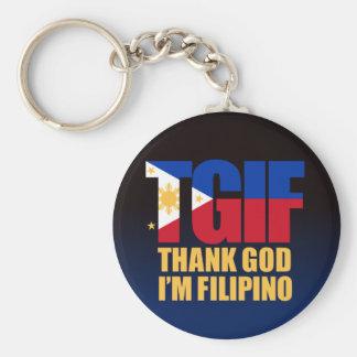 TGIF Filipino with Philippine Flag Basic Round Button Key Ring