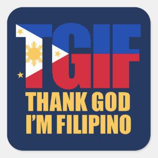 TGIF Filipino with Philippine Flag Square Sticker