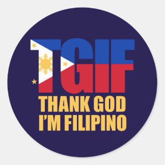 TGIF Filipino with Philippine Flag Round Sticker