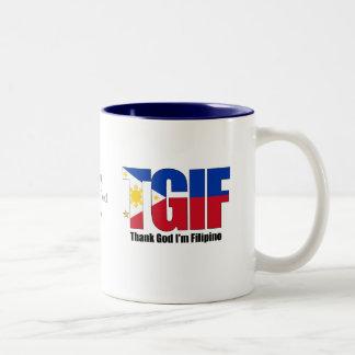 TGIF Filipino with Philippine Flag Two-Tone Mug