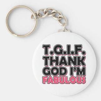 TGIF Thank God I'm Fabulous Basic Round Button Key Ring