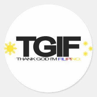 "TGIF ""Thank God I'm Filipino"" Round Sticker"