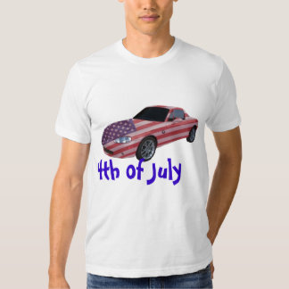 $th of July , U S painted sport's car, t-shirt