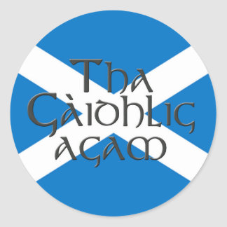 Tha Gaidhlig Agam: Bratach na h-Alba Classic Round Sticker