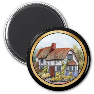 Thached Vintage Country Cottage Painting 6 Cm Round Magnet