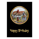 Thached Vintage Country Cottage Painting Card