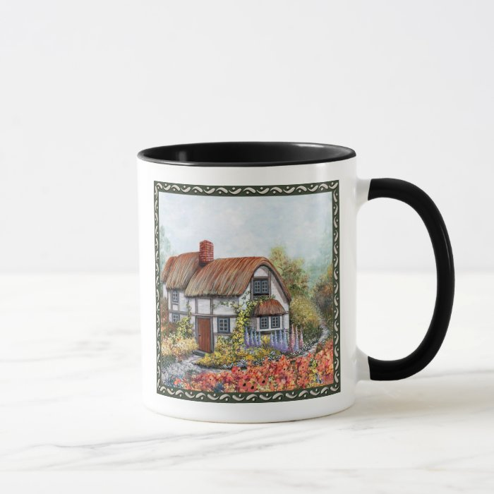 Thached Vintage Country Cottage Painting Mug
