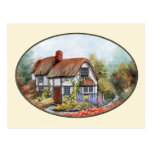Thached Vintage Country Cottage Painting Post Card