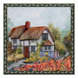 Thached Vintage Country Cottage Painting Poster