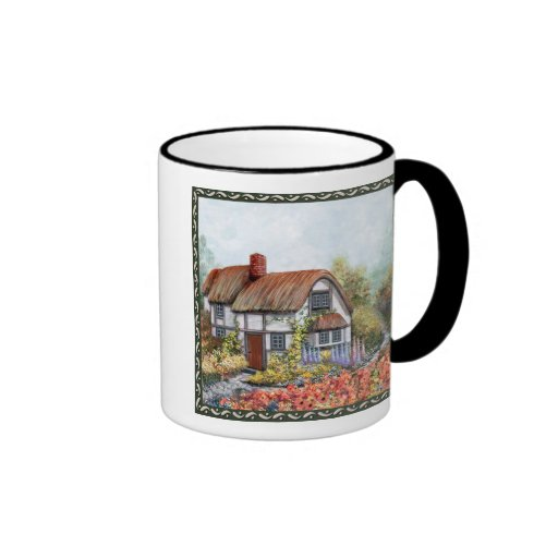 Thached Vintage Country Cottage Painting Ringer Mug