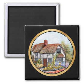 Thached Vintage Country Cottage Painting Square Magnet