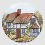 Thached Vintage Country Cottage Painting Classic Round Sticker
