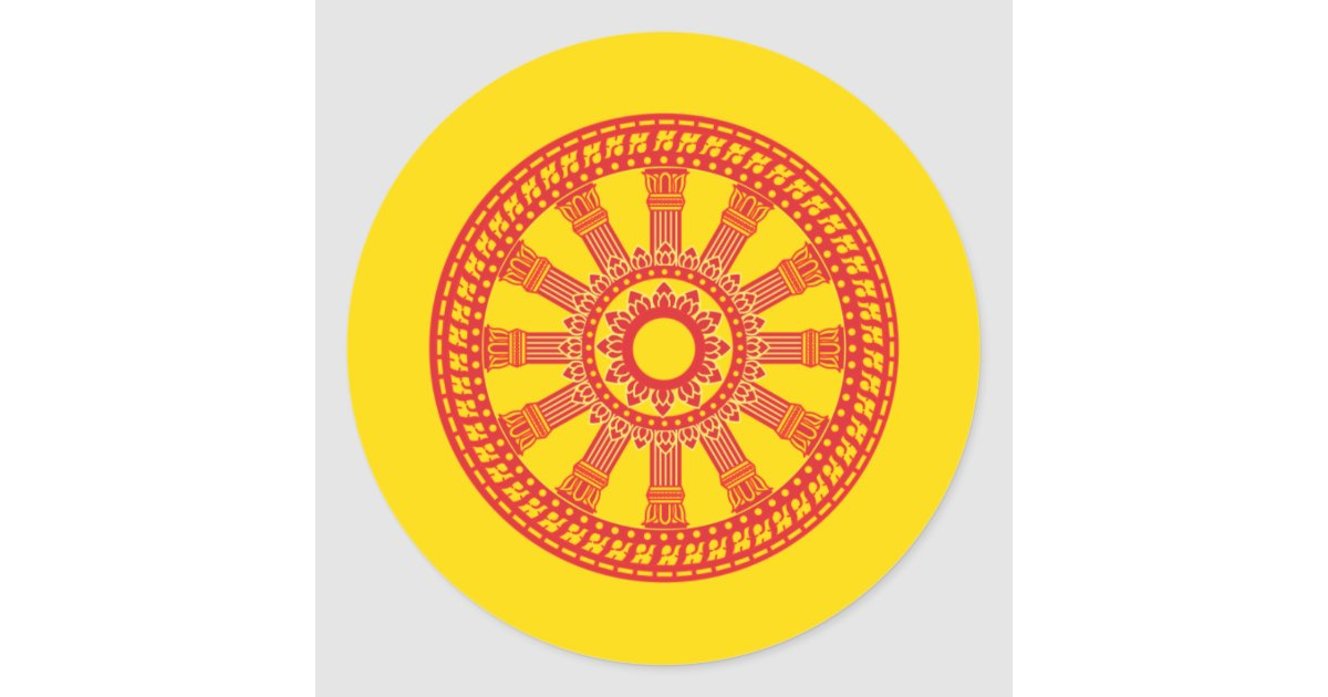 Thai Buddhist Flag The Dharmacakra Flag Classic Round Sticker