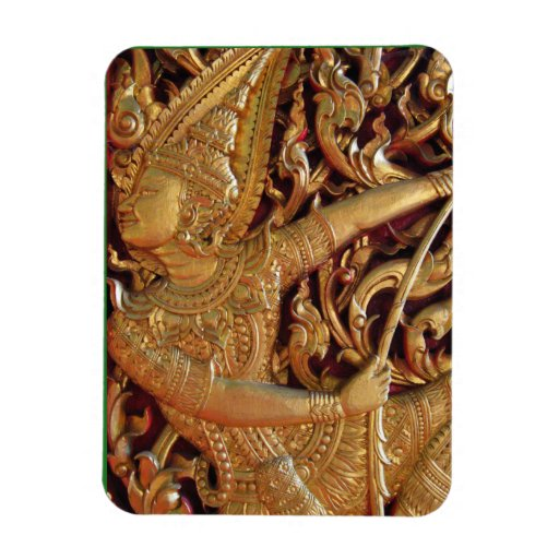 Thai Buddhist Temple Detail Rectangle Magnet
