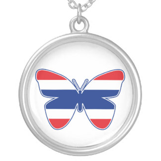 Thai Butterfly Flag Silver Plated Necklace