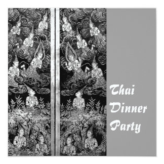 Thai Dinner Theme Party Invitation Silver