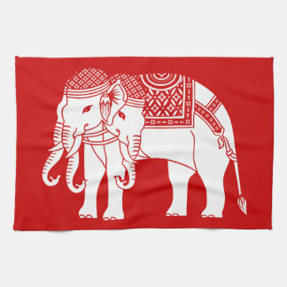 Thai Erawan White Elephant Tea Towel