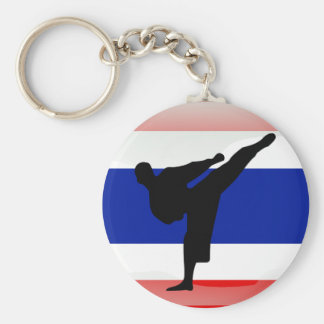 Thai flag basic round button key ring