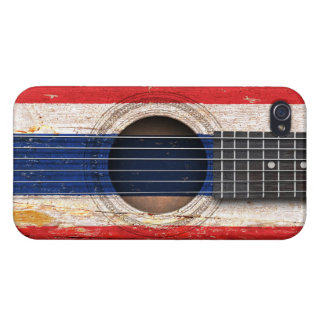 Thai Flag on Old Acoustic Guitar Cases For iPhone 4