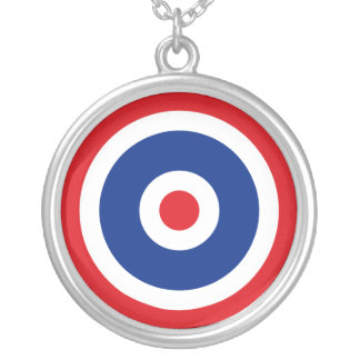 Thai Flag Roundel Target Silver Plated Necklace