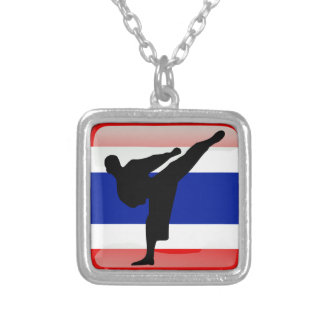 Thai flag silver plated necklace
