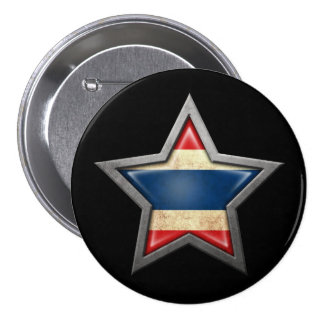 Thai Flag Star on Black 7.5 Cm Round Badge