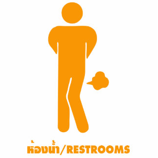 THAI FOOD CAN BE SPICY ⚠ Funny Sign : Restrooms ⚠ Standing Photo Sculpture