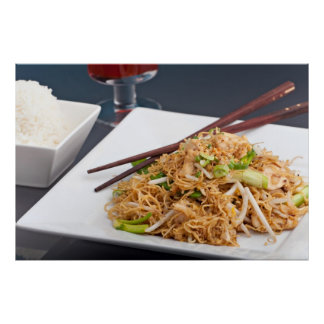 Thai Food Lo Mein Noodles Dish Poster
