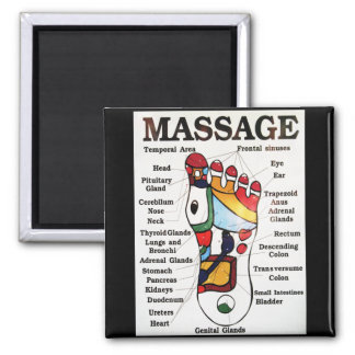 Thai Foot Massage ~ Reflexology map Square Magnet