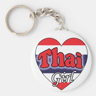 Thai Girl Basic Round Button Key Ring