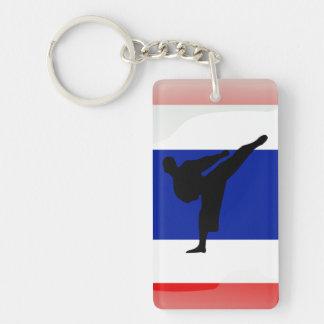 Thai glossy flag Double-Sided rectangular acrylic key ring